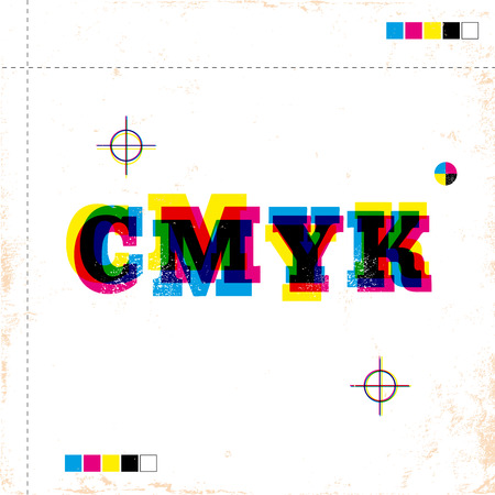 Illustration of a retro poster with CMYK Illustration
