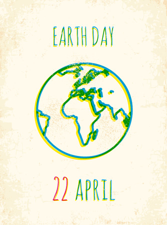 Retro poster for a Earth Day Vector