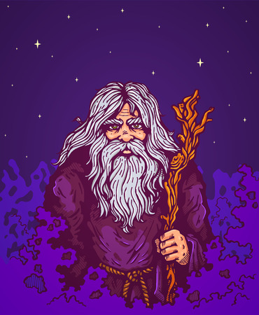 necromancer: Illustration of a old man with staff