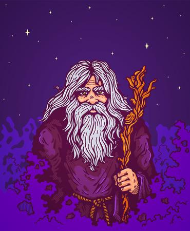 wayfarer: Illustration of a old man with staff
