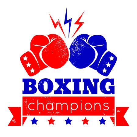 conflicto: Logotipo de la vendimia por un boxeo en el fondo del grunge Vectores