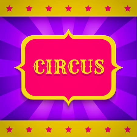 playbill: Retro circus poster with banner and stars