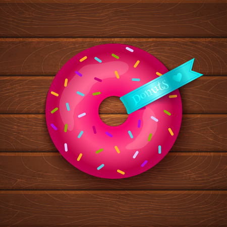 Pink donut on wooden background Vector