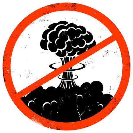 bombe atomique: Illustration d'un rétro affiche pas de guerre Illustration