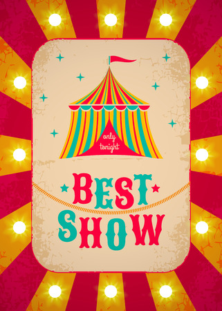 cartoon circus: Retro circus poster with tent