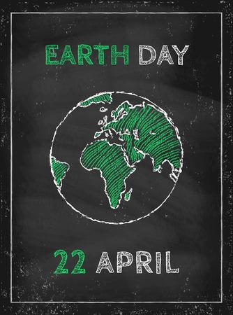 paz mundial: Retro cartel para el d�a de la Tierra Vectores
