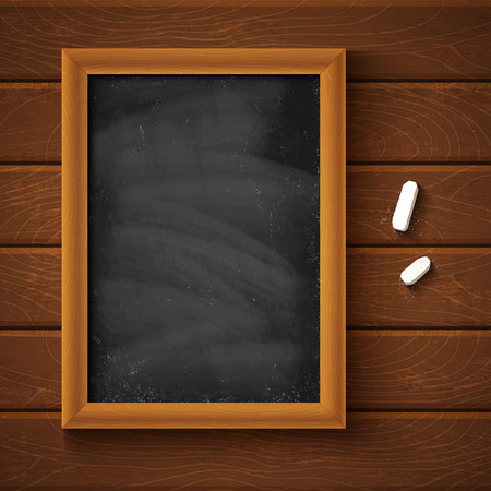Chalkboard on wooden background Иллюстрация
