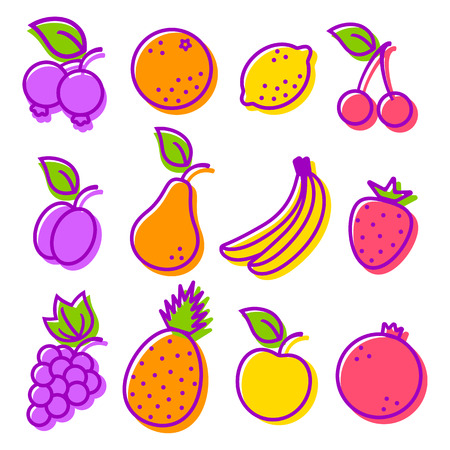 Vector set flat icons of a fruits Vector