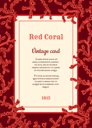 Vector vintage card with red corals Vector
