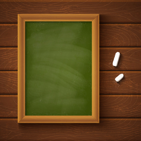 Chalkboard on a wooden background Vector
