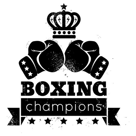 boxing sport: Vintage  for boxing with gloves and crown Illustration