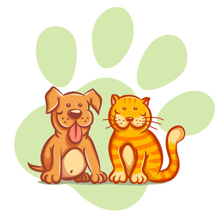 pampered: Illustration of a cat and dog