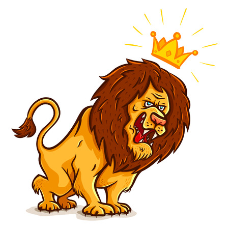 Vector illustration of an angry lion with crown Vector