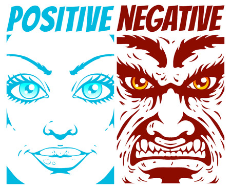 bad eyes: Illustration of a positive and negative