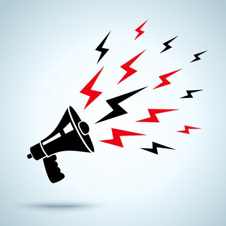 megafono: ilustración de megáfono y un rayo