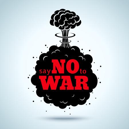 atomo: Cartel retro Diga no a la guerra Vectores