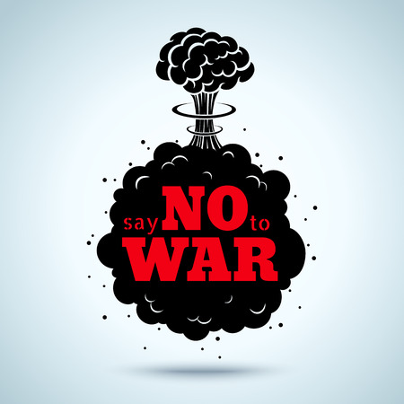 mushroom cloud: Retro poster Say no to war Illustration