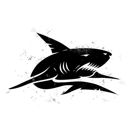 logo poisson: Illustration vintage d'un requin noir