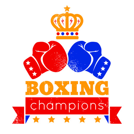 Vintage logo for boxing with gloves and crown Vector
