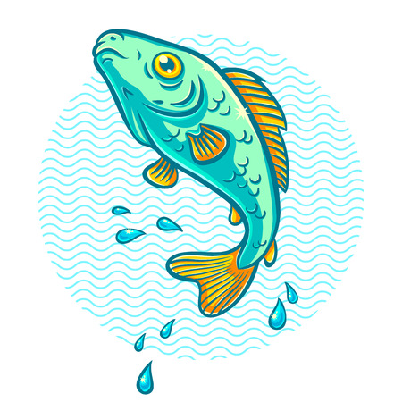 perch: illustration of a fish jumping out of water
