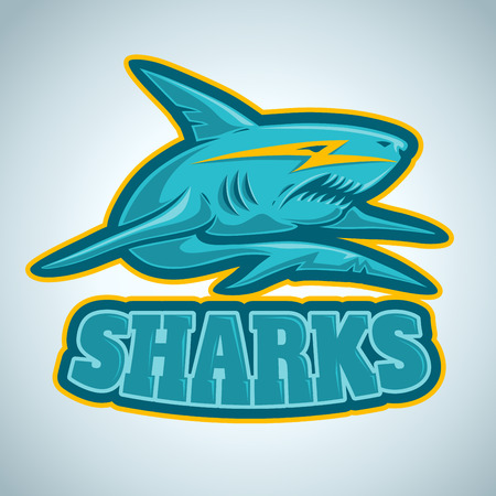 sport logo with blue shark Vector