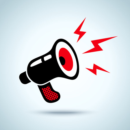 megafono: Ilustraci�n de un meg�fono retro y rel�mpagos