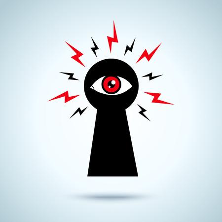 privacidad: Ilustración con el ojo de la cerradura y el ojo