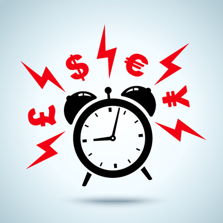 alarm clock: alarm clock ringing and money