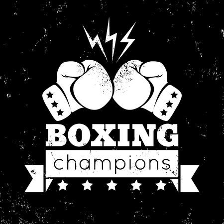 Vintage logo voor een boksen op grunge achtergrond Stock Illustratie