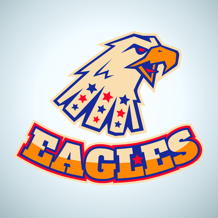 Sport logo with angry eagle head Illustration
