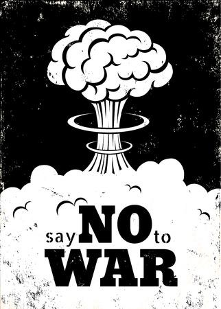 airplane world: Retro poster Say no to war Illustration