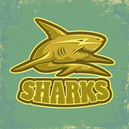 surf team: sport logo with shark on vintage background
