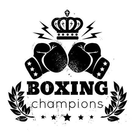 Vintage for boxing with gloves and crown  イラスト・ベクター素材