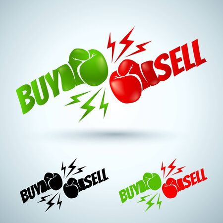forex trading: Illustration of a two gloves buy and sell