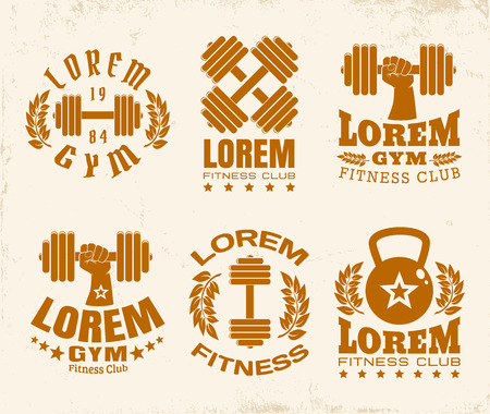 Vector set of a fintess logos on vintage background
