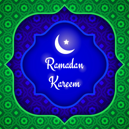night background: Vector greeting green and blue background. Ramadan Kareem