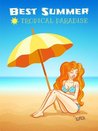 tattoo girl: illustration of beautiful girl on the tropical beach