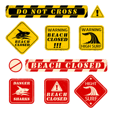 dangerous construction: set beach danger signs