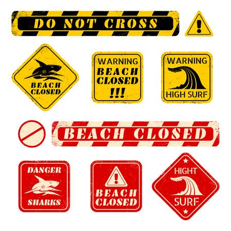 dangerous construction: set beach danger signs