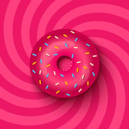 催眠の背景にピンクのドーナツのイラスト  イラスト・ベクター素材
