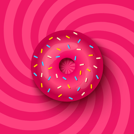illustration of a pink donut on hypnotic background Illustration
