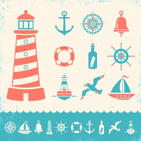 set vintage marine icons on old background