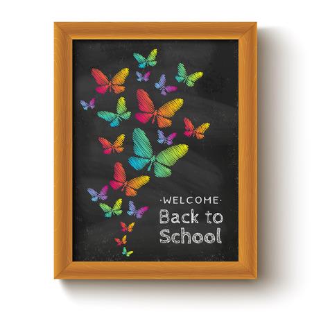 papillon: Vecteur de fond avec les papillons sur tableau pour la journ�e d'�cole