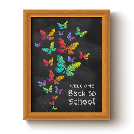 butterfly in hand: Vector background with butterflys on chalkboard for school day