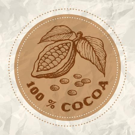 frijoles: Logotipo del vintage del cacao en papel blanco arrugado Vectores