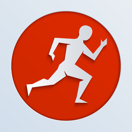 marathon: Vector sport logo for a running from white paper