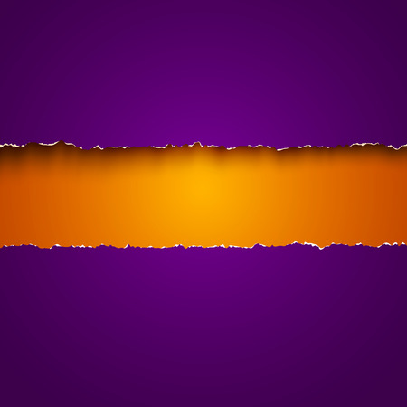 Vector background with purple and orange torn papers