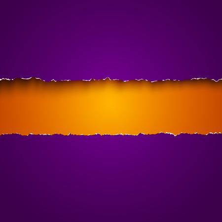 papel de notas: Vector de fondo con papeles rotos de color p�rpura y naranja