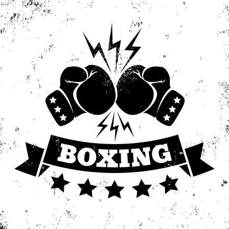 guantes de boxeo: Logotipo de la vendimia por un boxeo en el fondo del grunge Vectores