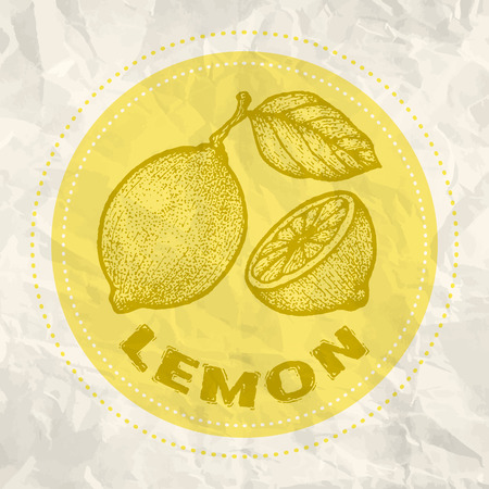 fresh juice: Vintage logo of lemon on crumpled white paper Illustration